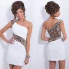 Women's Fashion Single-Shoulder Sequined Mini Polyester Short Evening Dress - White (XL)