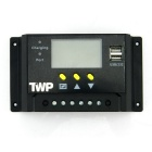 "TWP 48V 20A 2.4"" LCD PWM Solar Charge Controller with USB - Black"