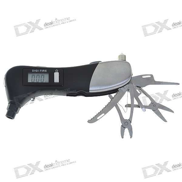9-in-1 Multi Tool Digital Tire Gauge - Black + Silver (1*3A Included)