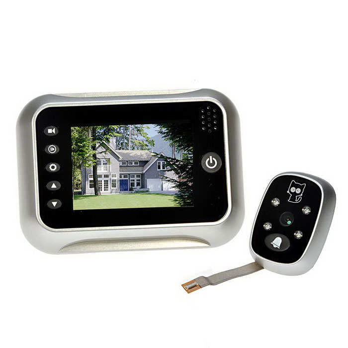3.5 LCD Digital Peephole 120° Doorbell Video Color IR Camera - SilverDoorbells<br>ColorSilver White + BlackMaterialPlastic + metalQuantity1 SetPower SupplyAABattery Number4Power AdapterWithout Power AdapterPacking List1 x Outdoor Device1 x Indoor Host Device1 x Holder5 x Screws1 x User Manual (English)<br>