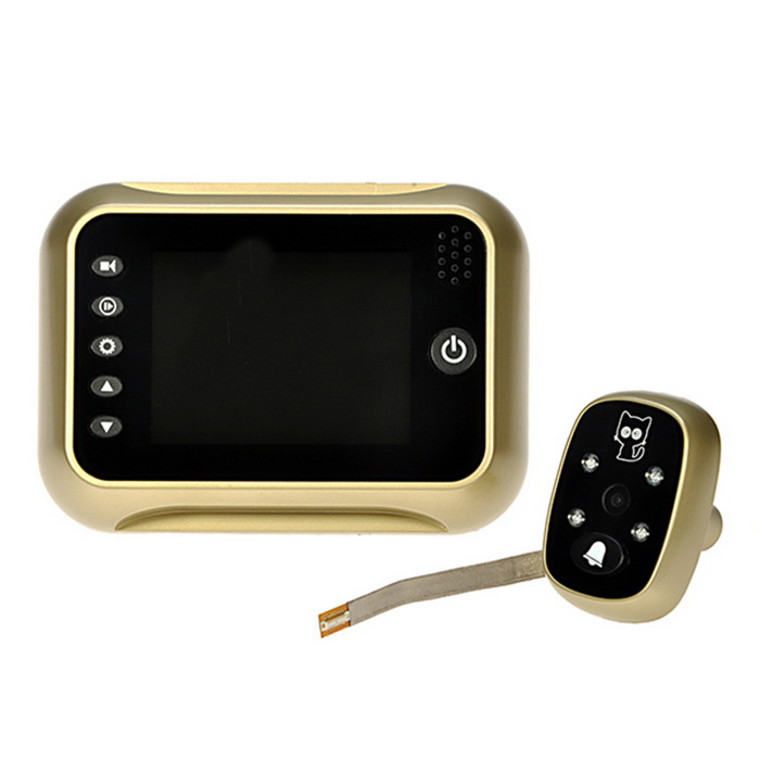 3.5 LCD Digital Peephole Viewer 120° Door Eye Doorbell Video Color IR CameraDoorbells<br>Form  ColorGolden + BlackMaterialPlastic + metalQuantity1 DX.PCM.Model.AttributeModel.UnitScreen Size3.5 DX.PCM.Model.AttributeModel.UnitPower SupplyAABattery Number4Power AdapterWithout Power AdapterPacking List1 x Outdoor Device1 x Indoor Host Device1 x Holder5 x Screws1 x User Manual (English)<br>