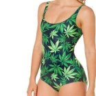Women's Retro Leaves Printing One-Piece Swimsuit Swimwear - Green