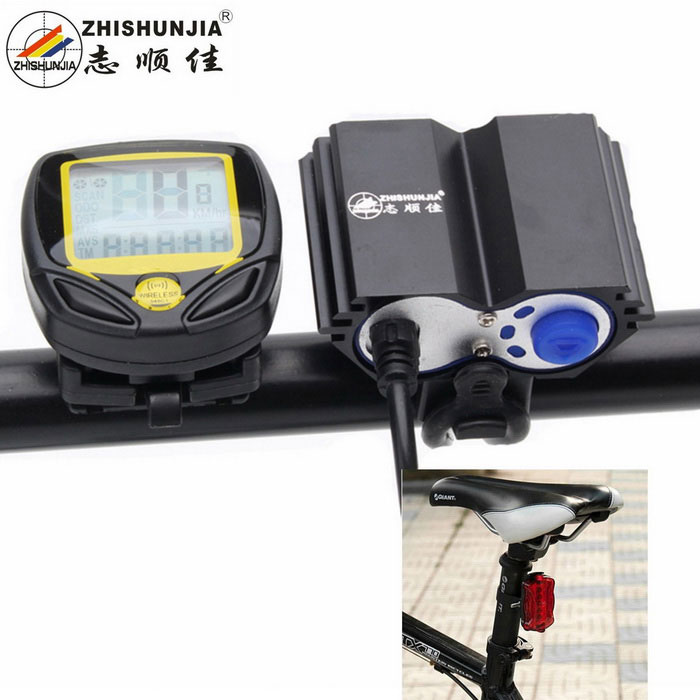 ZHISHUNJIA Bicycle Headlight / Wireless Mileage Counter - Black