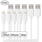 MFI Yellowknife 8-Pin Spring USB Data Sync Charger Cable for IPHONE 6 / 6 PLUS - White (1.5m / 5PCS)