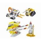 4-in-1 DIY 3D Puzzle Spaceship Toy - Black + White + Yellow