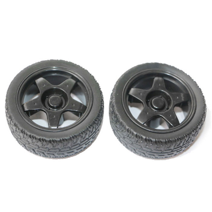DIY 65mm Rubber Car Model TT Motor Wheels -  Black (2 PCS)