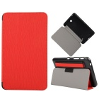 "Toothpick Grain Pattern PU + PC Case w/ Stand for Samsung Galaxy Tab 4 7"" T230 - Red"
