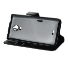 Flip-Open PU Case w/ Magnetic Buckle / Card Slots for Wiko Wax - Black