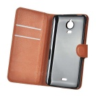 PU Cases w/ Magnetic Buckle for Wiko Wax - White + Brown (2PCS)