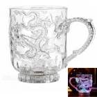 Dragon Pattern Water Sensing Colorful Light Acrylic Mug Cup - Transparent (2 x CR2025 / 300ml)