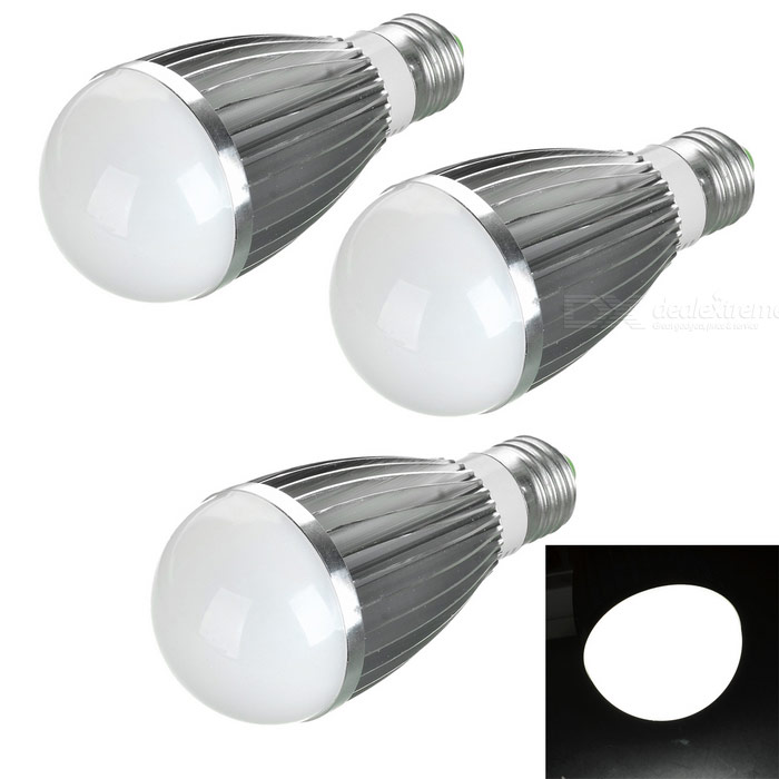 E27 7W LED Bulbs Cold White Light 600lm (AC 85~265V / 3 PCS)