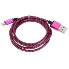 Universal USB / Micro USB Nylon Braided Data Cable - Red + Black (100±3cm)