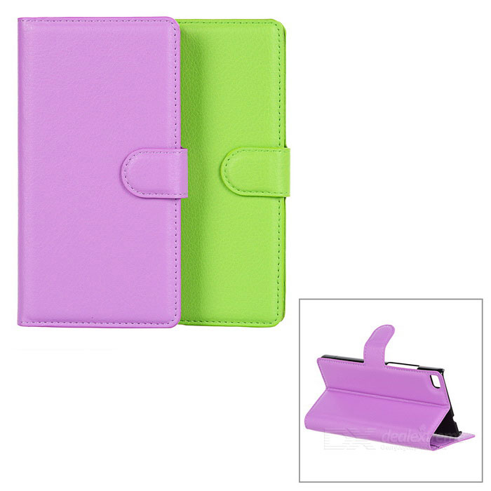 PU Case w/ Magnetic Buckle, Card Slot for Huawei P8 - Purple + Green