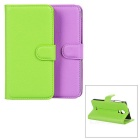 Buy PU Case Magnetic Closure, Card Slots Wiko Wax - Purple + Green