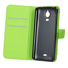 PU Case w/ Magnetic Closure, Card Slots for Wiko Wax - Purple + Green