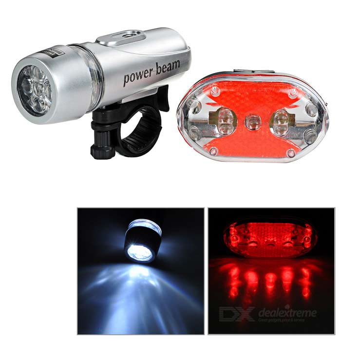 Bike 2-Mode 5-LED Front Lamp + 7-Mode Red 9-LED Tail Lamp Set - Silver