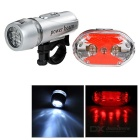 Bicycle Bike 2-Mode White 5-LED Front Lamp + 7-Mode Red 9-LED Tail Light Set - Black + Silver