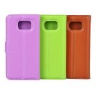 PU Case w/ Stand for Samsung S6 - Brown + Green + Purple (3PCS)