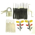 Transparent Slotted Practice Padlock + Lock Pick + Padlock Shims Set