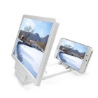 Portable Foldable Screen Enlarging Magnifier Desktop Mount Holder for IPHONE + More - White