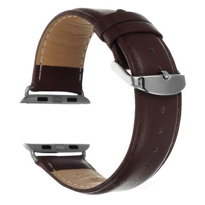 Correa de cuero con accesorio de banda para APPLE WATCH 42mm - marrón oscuro