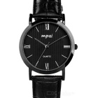 Mpai 6981 Business Waterproof Leather Wristband Quartz Analog Watch for Men - Black (1 x SR626)