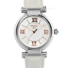 Mpai 6911 Waterproof Leather Wristband Quartz Analog Watch for Women -  White (1 x SR626)
