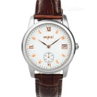 Mpai 9008 Waterproof Leather Wristband Quartz Analog Watch for Men - Brown + Gold (1 x SR626)