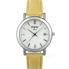 Mpai 6912 Waterproof Leather Wristband Quartz Analog Watch for Women -  Khaki + Silver (1 x SR626)