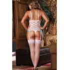 Sexy Succuba Game Uniforms Lace Garters Lingerie - White + Blue