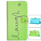 Flip-Open Protective PU Case w/ Magnetic Buckle / Stand for Samsung Galaxy S6 Edge Plus - Green