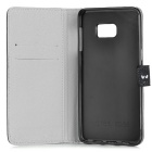 PU Case w/ Card Slot for Samsung Galaxy S6 Edge Plus - White + Black
