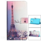 Paris Eiffel Tower Patter Flip-Open PU Case w/ Card Slot, Stand for Samsung Galaxy S6 Edge Plus