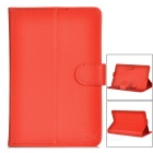 "Universal Litchi Pattern Flip-Open Protective PU Full Body Case Cover for 7"" Tablet PC - Red"
