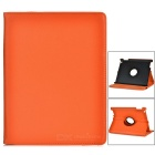 Lychee Pattern Rotatable Protective PU Case w/ Stand, Auto Wake-up / Sleep for IPAD - Black + Orange