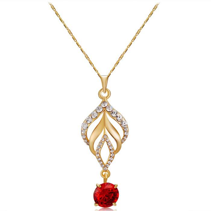 Torch Red Zircon Crystals Inlaid Pendant Necklace - Golden