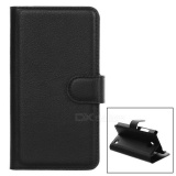 Lychee Pattern Protective Full Body PU Case w/ Stand for Nokia Lumia 630 - Black