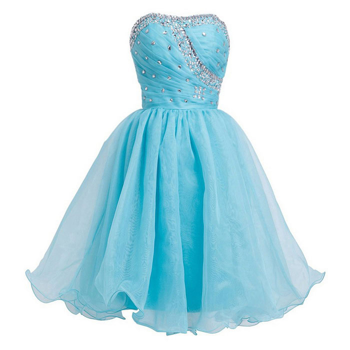 BAITUYA Women's Strapless Beaded Organza Dress - Blue (XXL)