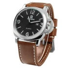 BESTDON BD5512G Men's Leather Strap Quartz Watch - Black+Silver