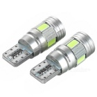 T10 2W LED Decode Lamp / Signal Light Ice Blue 483nm 60lm 6-SMD (2PCS)
