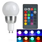 GU10 3W Dimmable RGB LED Energy Saving Ball Steep Light w/ Remote Controller (85-265V)