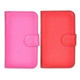 Lichee Pattern Protective PU Case w/ Stand & Card Slots for Wiko Ozzy - Red + Deep Pink (2PCS)