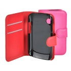 Lichee Pattern PU Case w/ Stand for Wiko Ozzy - Red + Deep Pink (2PCS)