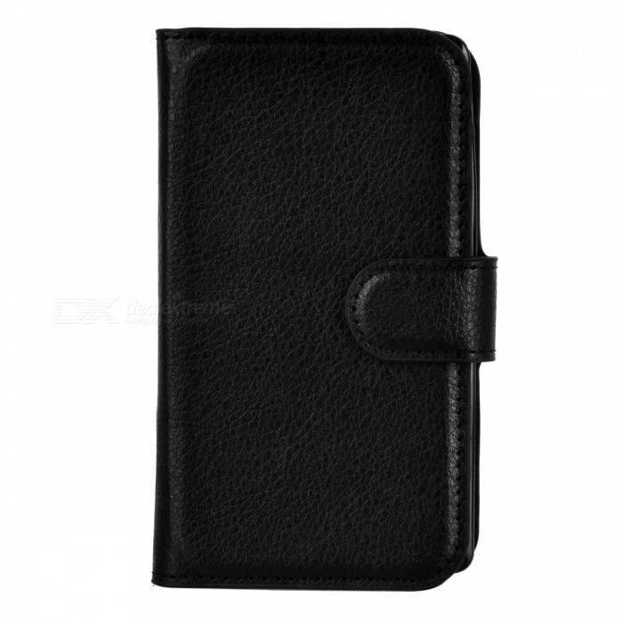 Lychee Pattern PU Case w/ Card Slots for Nokia Lumia 520 - Black