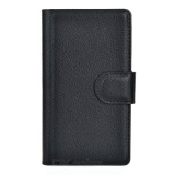 Lychee Pattern Protective PU Case w/ Stand / Card Slots for Nokia Lumia 520 - Black