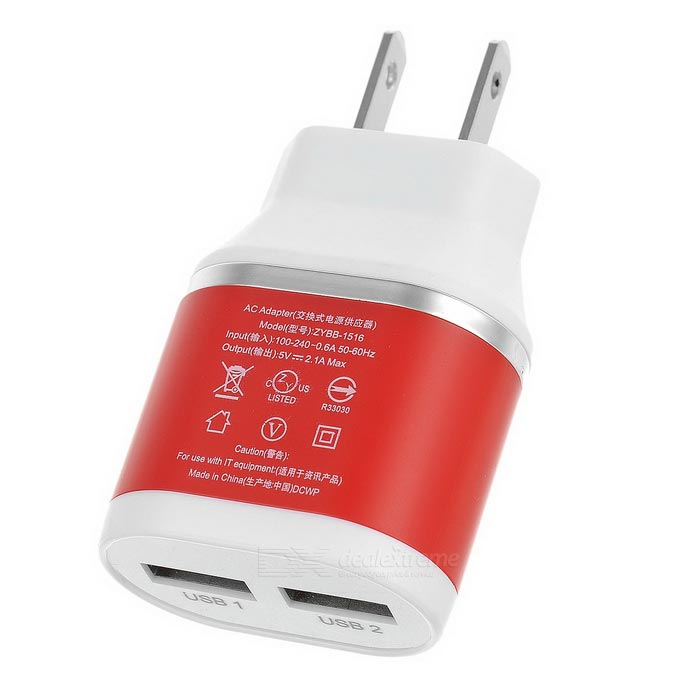 US Plugss Dual USB Fast Power Charger Adapter - Red + White