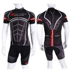 NUCKILY AJ207 / BK277 Breathable Polyester Short Cycling Jersey + Pants Set - Black (L)