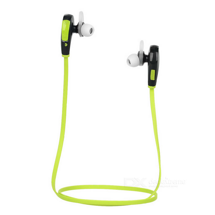 In-Ear Bluetooth V4.0 Stereo Headset Headphone w/ Mic - Black + Green