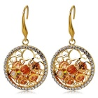 Heart Style Round Crystal Earrings for Women - Gold