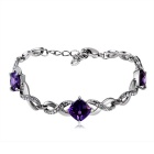 Twisted Alloy Crystal Bracelet - Silver